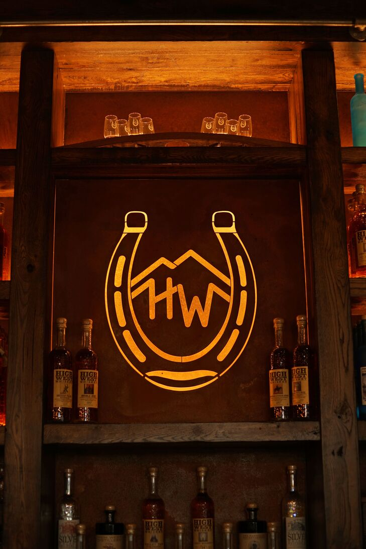 Rustic Western Bar with Horseshoe Monogram