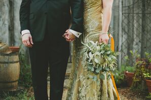 Handmade Green Lace Wedding Gown