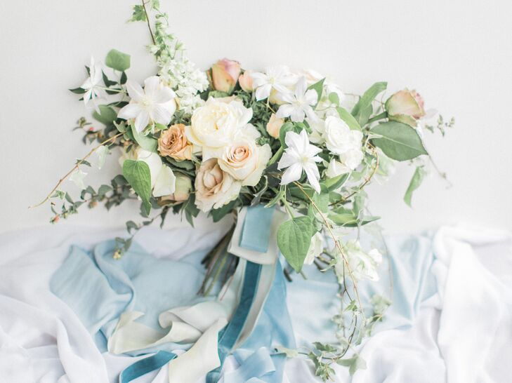 Ivy and Clematis Bouquet with Blue Silk Wrap