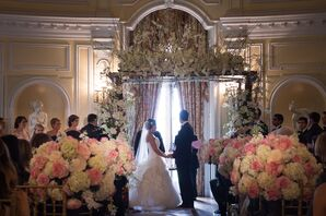White Dendrobium Orchid and Hydrangea Wedding Arch
