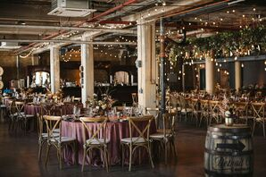 Industrial Loft Reception with String Lights and Pink Linens