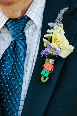 Yellow Lily and Lego Robin Boutonniere