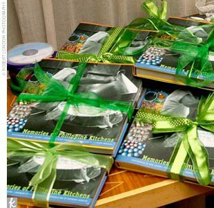 Maggie and Jake gave each of their guests a signed cookbook by the owners of Cendrillion, entitled Memories of the Philippine Kitchen, tied with bright green ribbon. They also passed out CDs of their favorite songs.