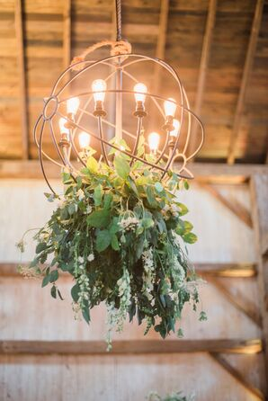 Edison Bulb Chandelier and Hanging Greenery