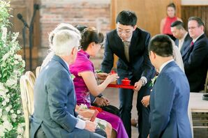 Chinese Tea Ceremony at Classic Garden Wedding in Wilmington, North Carolina