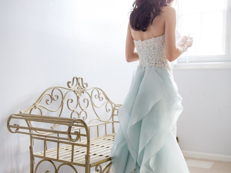 Oscar De La A Strapless Blue Wedding Gown