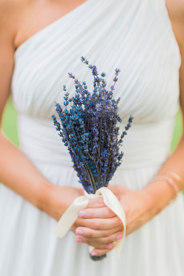Lavender Bridesmaid Bouquets With Ivory Ribbon