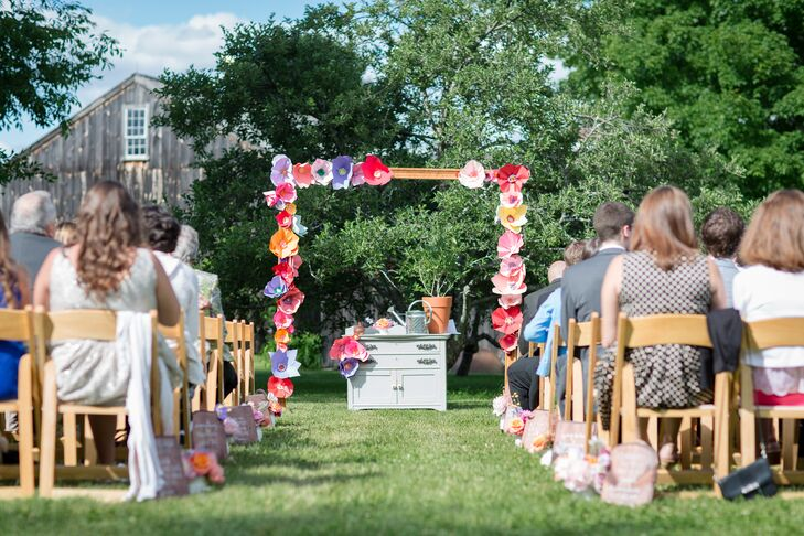 Paper Flower Decorated Wedding Arch