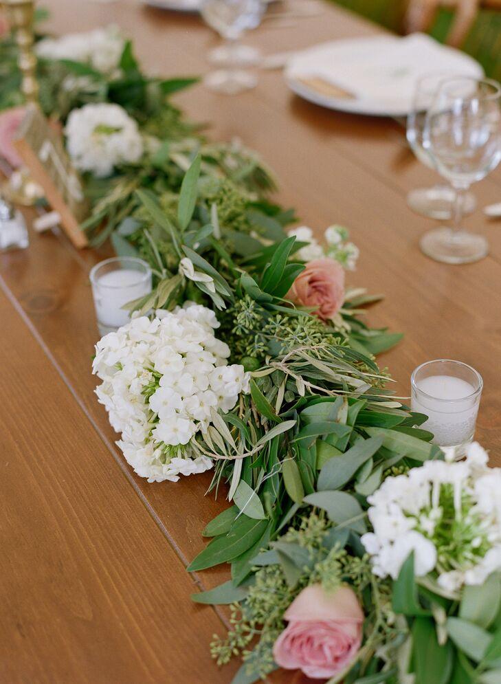 White Hydrangea, Seeded Eucalyptus Garland Reception Centerpieces
