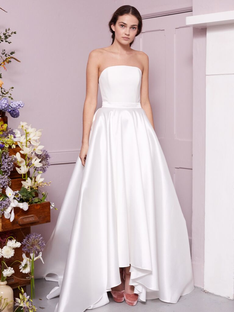 Halfpenny London 2020 Bridal Collection simple strapless satin A-line wedding dress