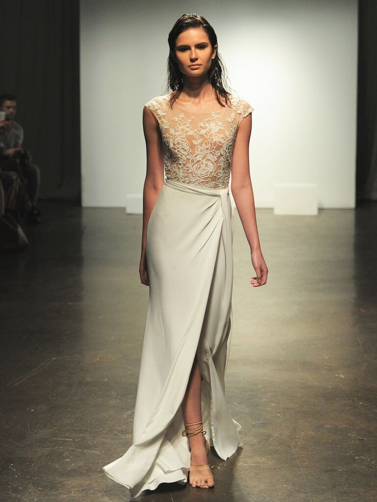 33b8adc8fc639 Rime Arodaky Fall 2019 wedding dress with sheer illusion bodice