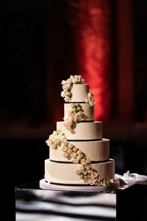 Modern Tiered Wedding Cake with Flowers and Ribbon