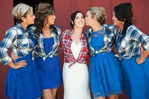 Casual Plaid Shirt Bridesmaid Attire