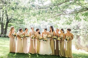Glam Gold and Champagne Bridesmaid Dresses