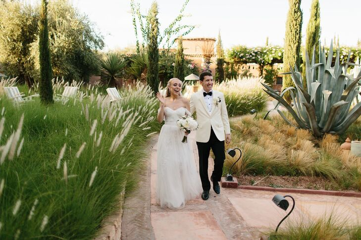 Postceremony, the newlyweds took pictures on the property before moving to the ceremony in the riad.