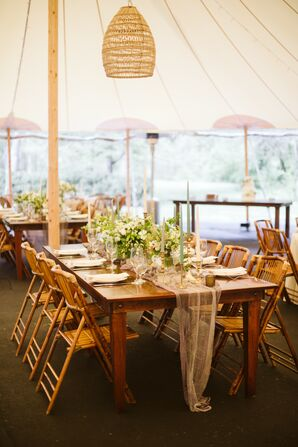Rustic Farm Tables at Tented Reception