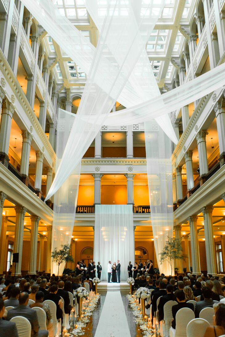 Warmly Lit Landmark Center Ceremony with Hanging White Fabric