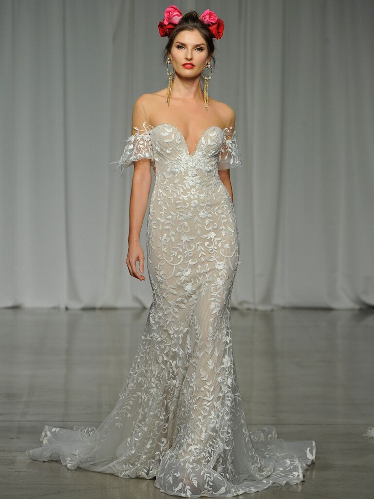 Julie Vino Spring 2019 embroidered fit-and-flare wedding dress with an off-the-shoulder silhouette