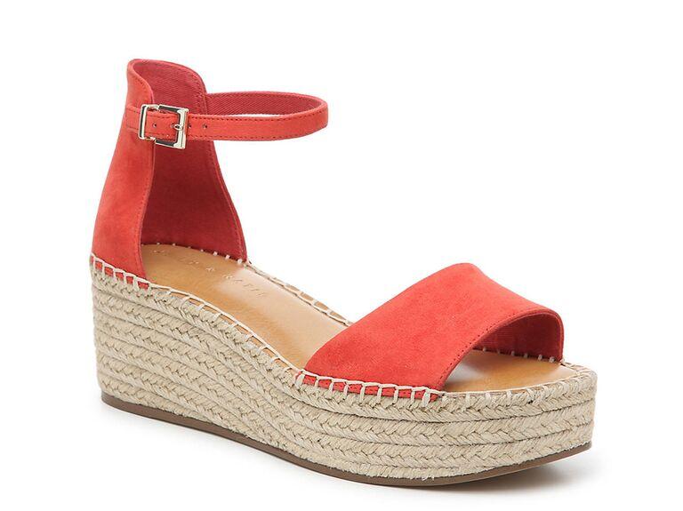 Kelly & Katie Fedrick Espadrille wedge sandal in Coral Fabric