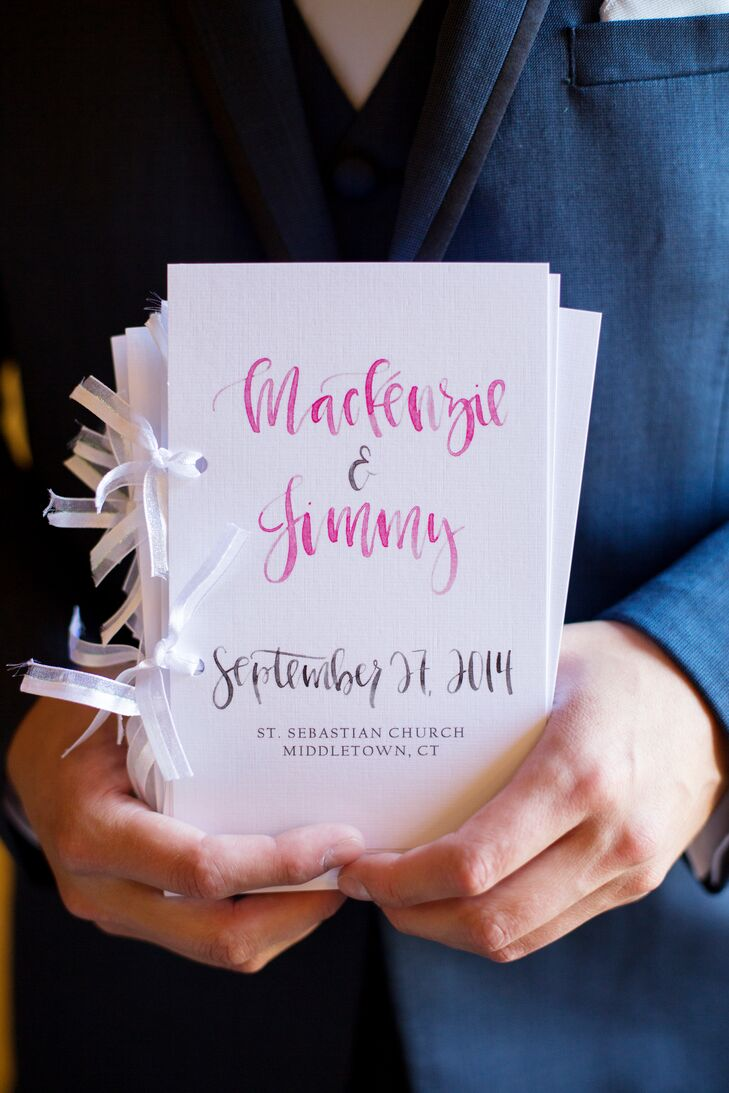 MacKenzie enlisted the help of her sister, along with a few talented Etsy vendors, to create all the wedding's paper details, from the menus to the table numbers and ceremony programs. After having a calligrapher create a template for the programs and menus with garden-inspired lettering, she had her sister personalize the design before taking them to Vistaprint to be printed.