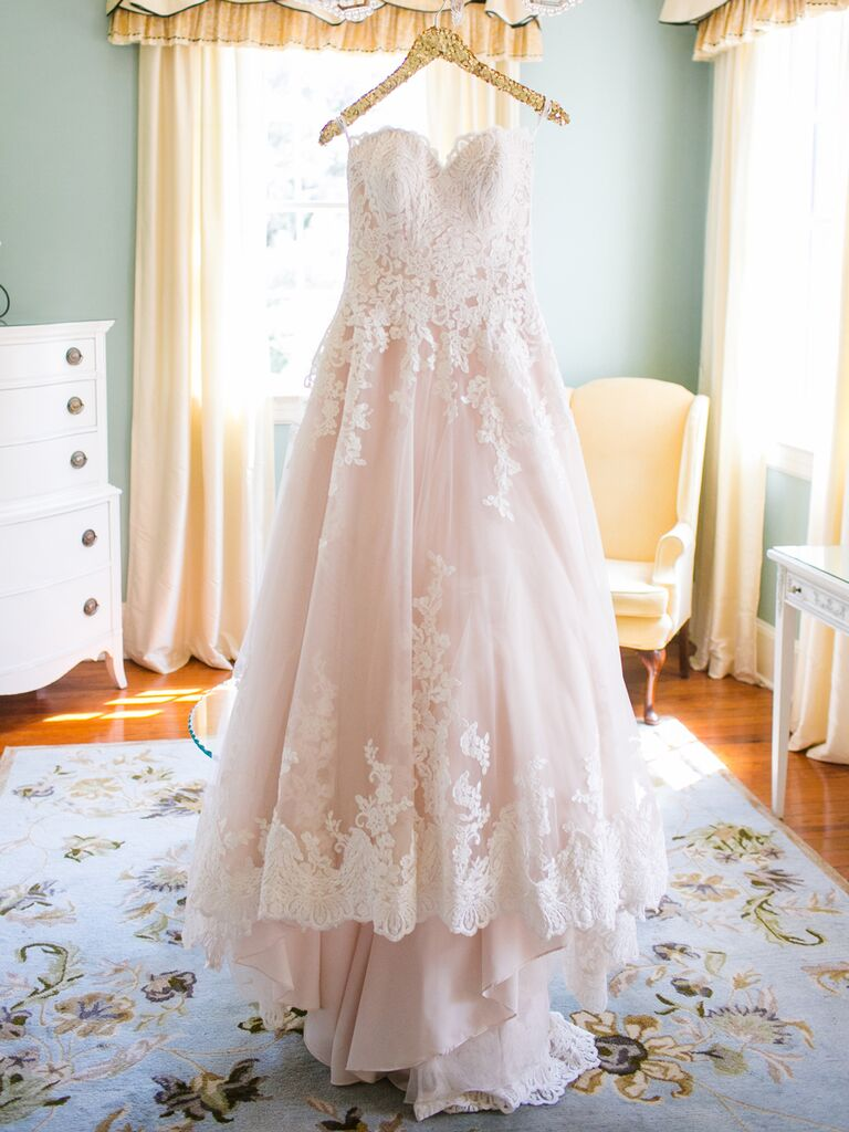 Blush Pink Strapless Sweetheart Ball Gown By Allure Bridals Dana Cubbage Weddings