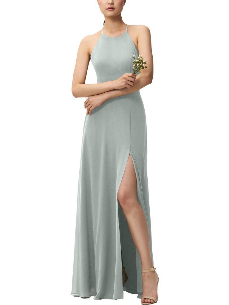 Light blue green gray bridesmaid dress