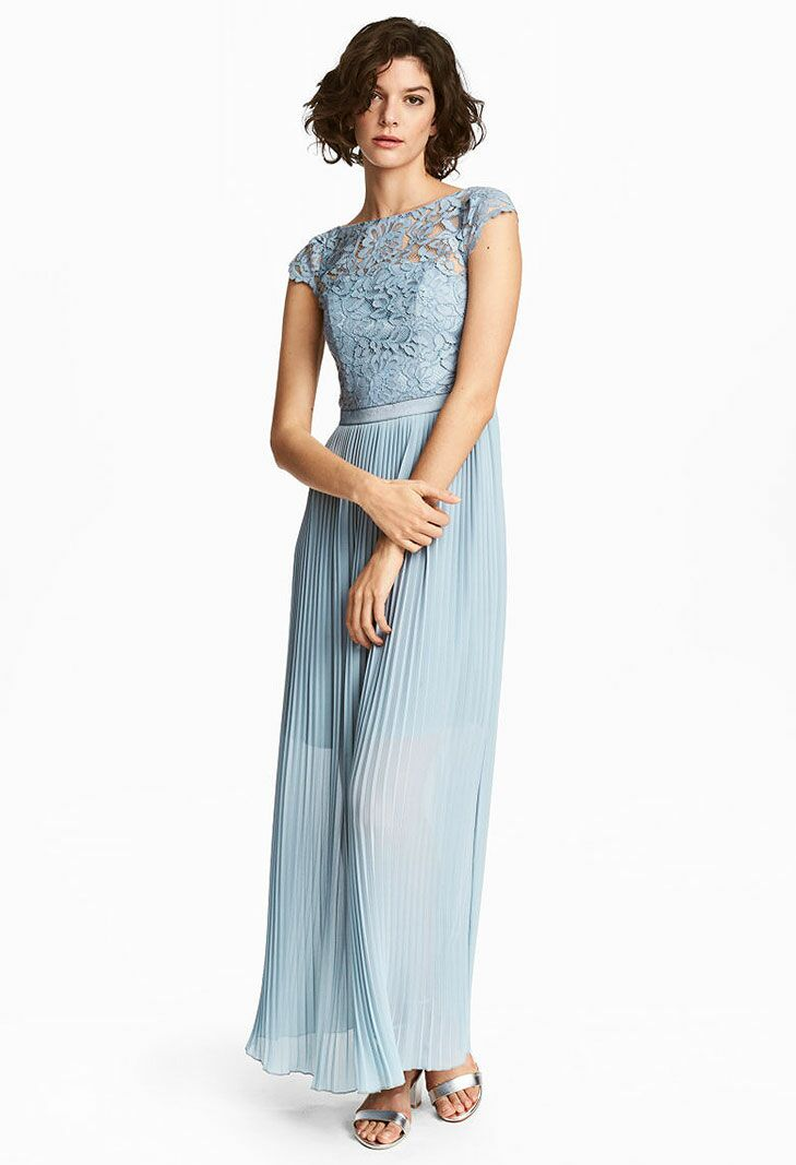 Blue Lace Maxi Beach Wedding Guest Dress