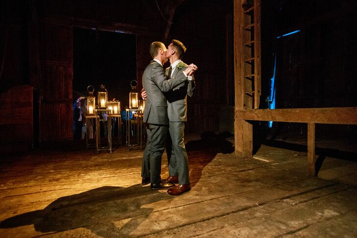 The Grooms Have Their First Dance at the Farmhouse with Glowing Lanterns