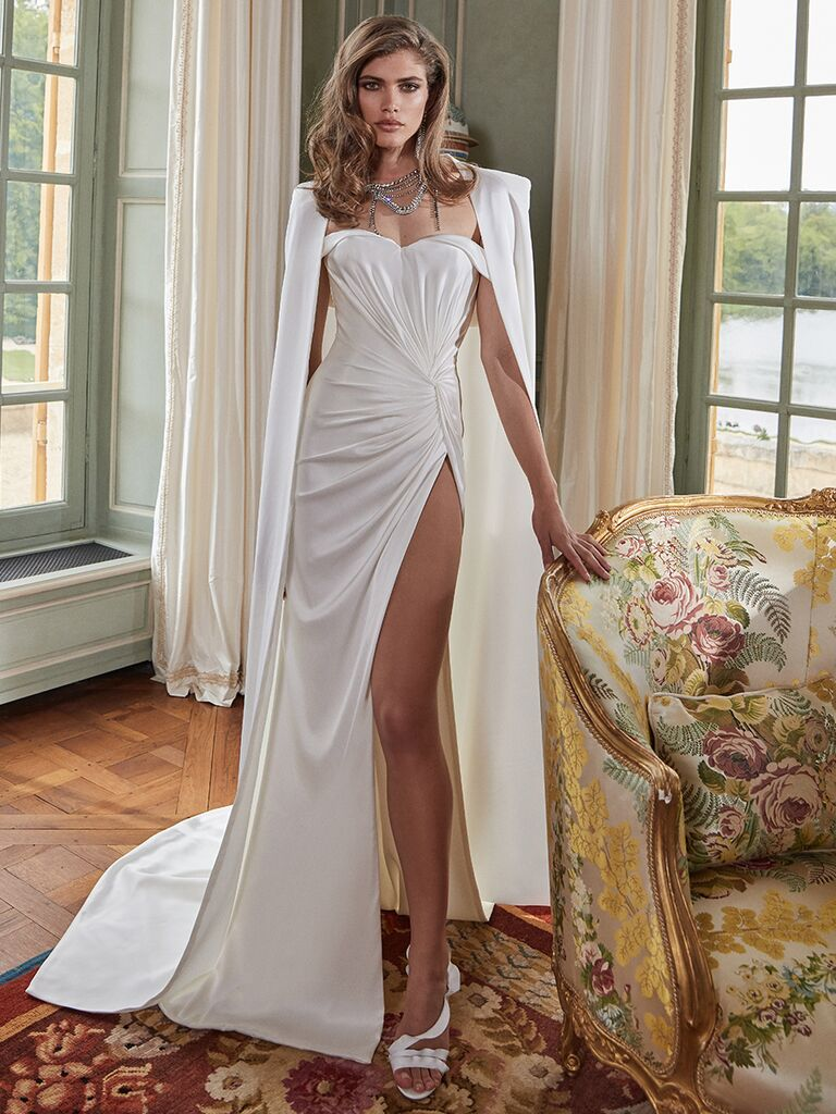 Galia Lahav crepe silk gown high slit