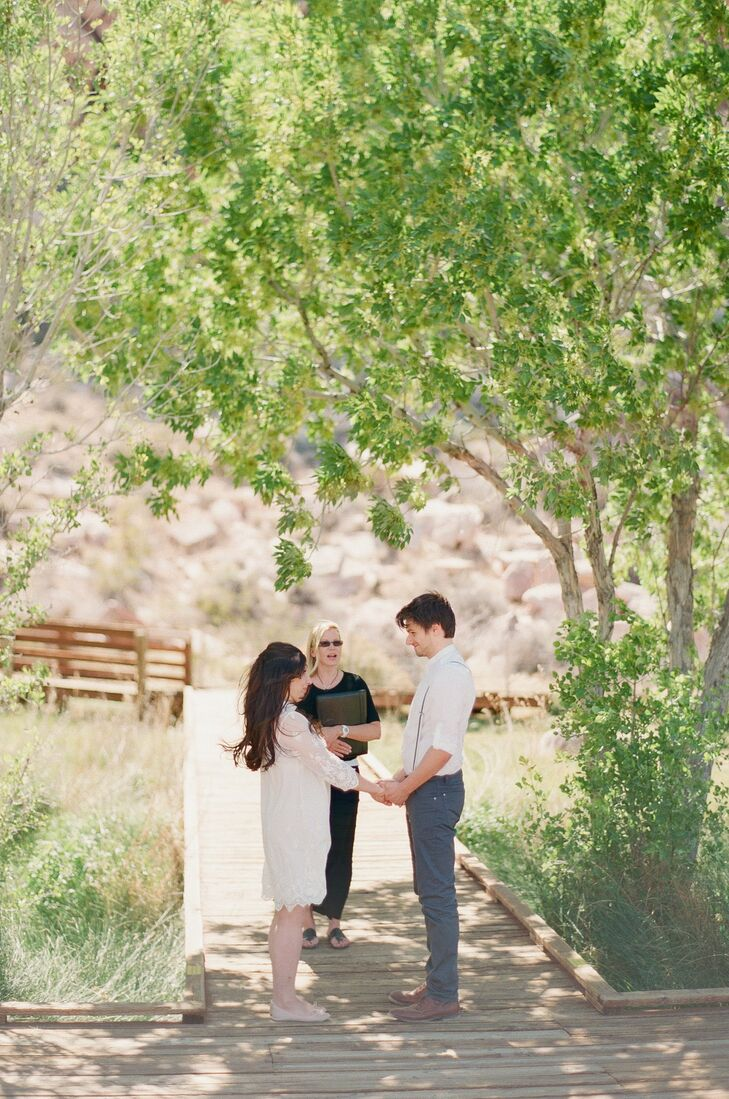 Leila and Tom had their ceremony on Calico Basin road, on the pathway leading to the bridge. It was just the couple and the officiant, making the ceremony personal and romantic.