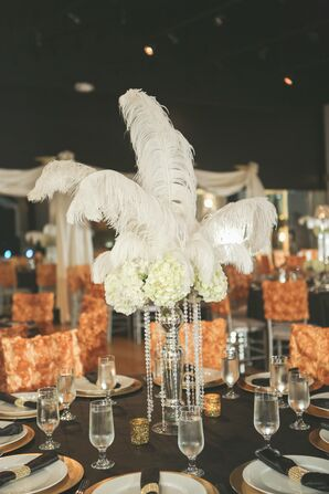 Dramatic White Hydrangea and Feather Centerpiece