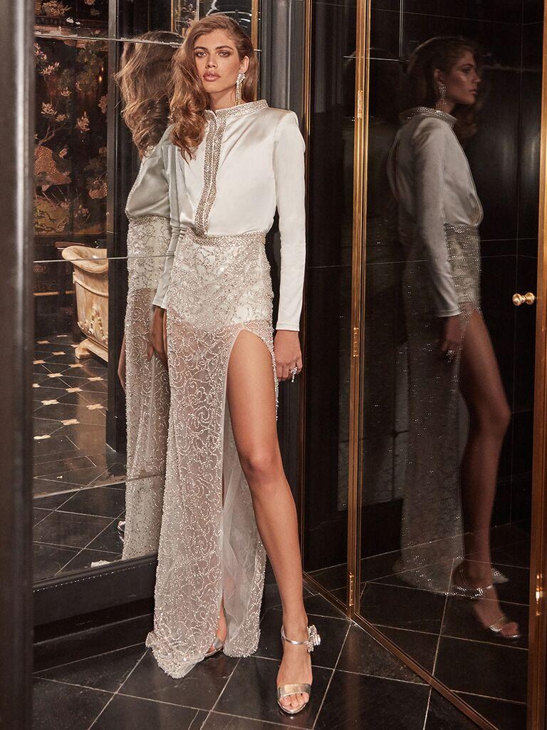 Galia Lahav white jumpsuit long sleeve with mesh skirt
