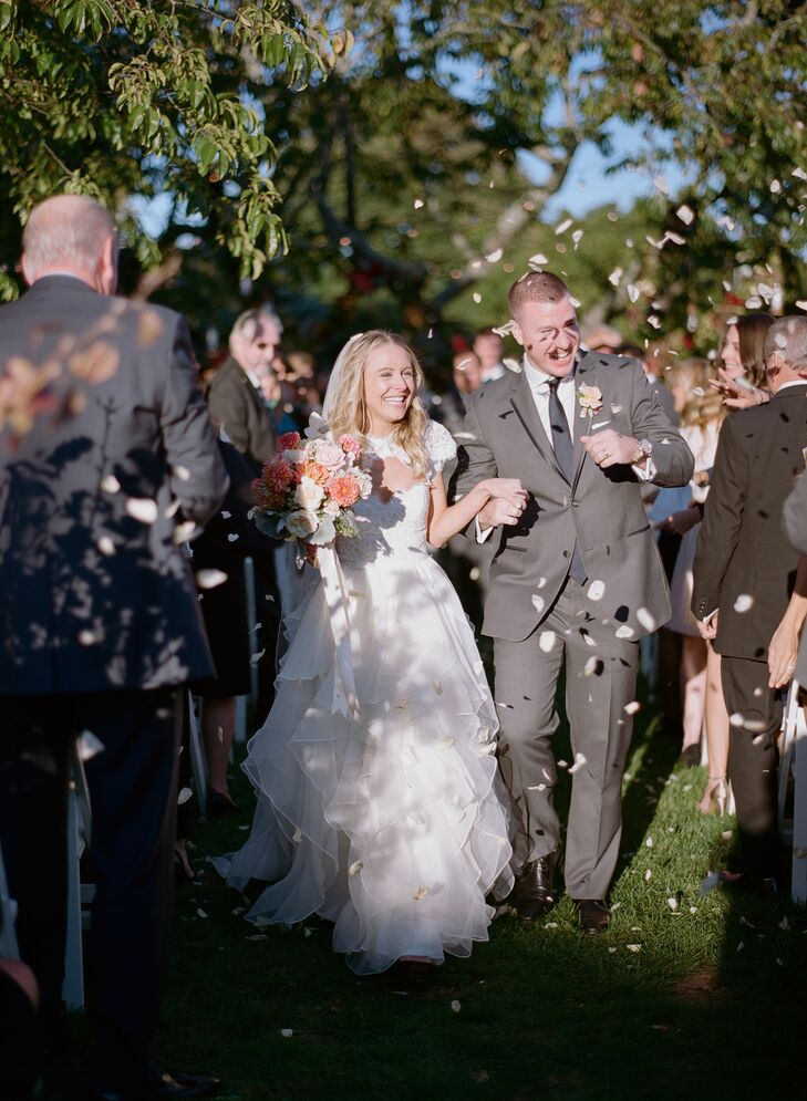 """The ceremony took place on Sole East's expansive lawn. Steve's uncle, a pastor, officiated and the couple exchanged heartfelt vows, which they'd written themselves. """"It was something Steve had been dreading, but I think he was happy he did it in the end,"""" Michelle says."""