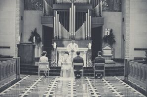 Black and White of the Bride and Groom's Traditional Catholic Ceremony