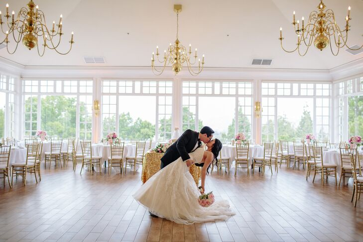 The couple fell in love with the high ceilings, gold chandeliers, white walls and wood floors of their Carmel Mountain Ranch Country Club reception venue in San Diego, California.