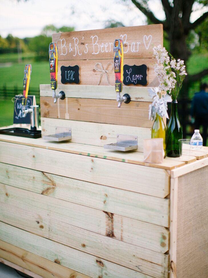 DIY beer tap for an outdoor wedding reception