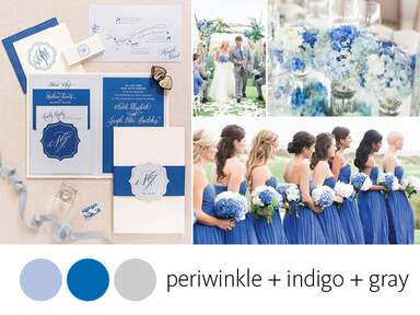 Periwinkle and indigo stationery bridesmaids dresses hyrangeas
