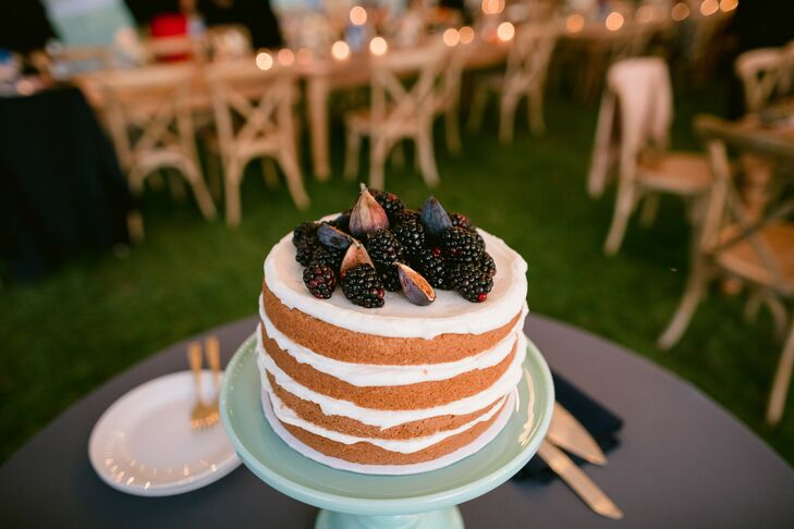 Naked Cake with Figs and Blackberries on Top