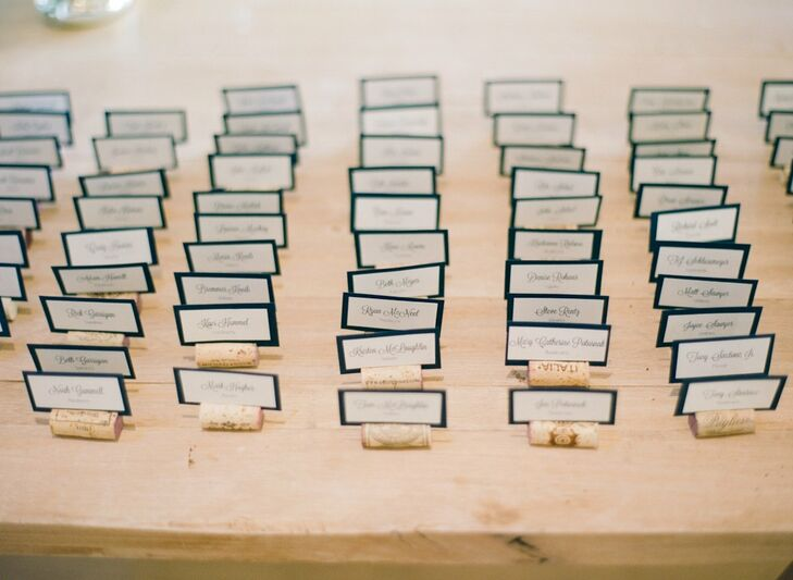 The escort cards were mounted on wine corks, a nod to the couple's wedding location.