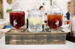 Drink Dispensers on Wooden Bar