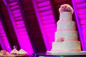 Pink Rose Decorated Four Tier Wedding Cake