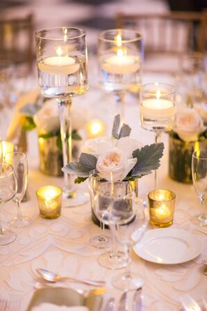 Small, Simple Rose and Candle Centerpiece
