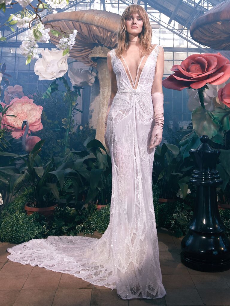 GALA by Galia Lahav Spring 2020 Bridal Collection plunging glam vintage-inspired wedding dress