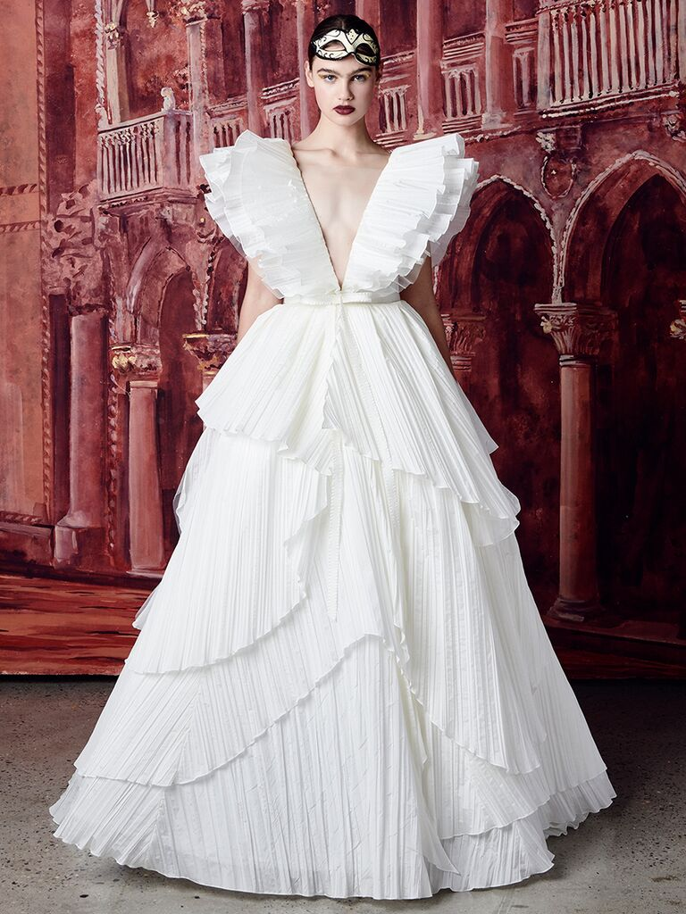 Isabelle Armstrong ballgown with tiered skirt and ruffled sleeves