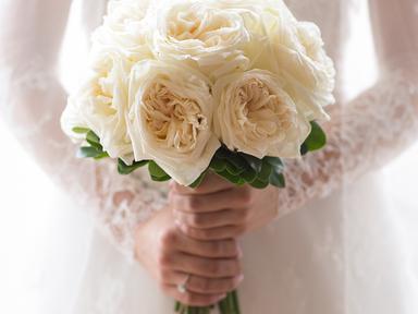 White floral rose bridal bouquet
