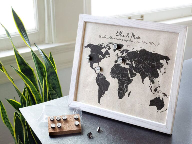 Cotton travel map anniversary gift with push pins