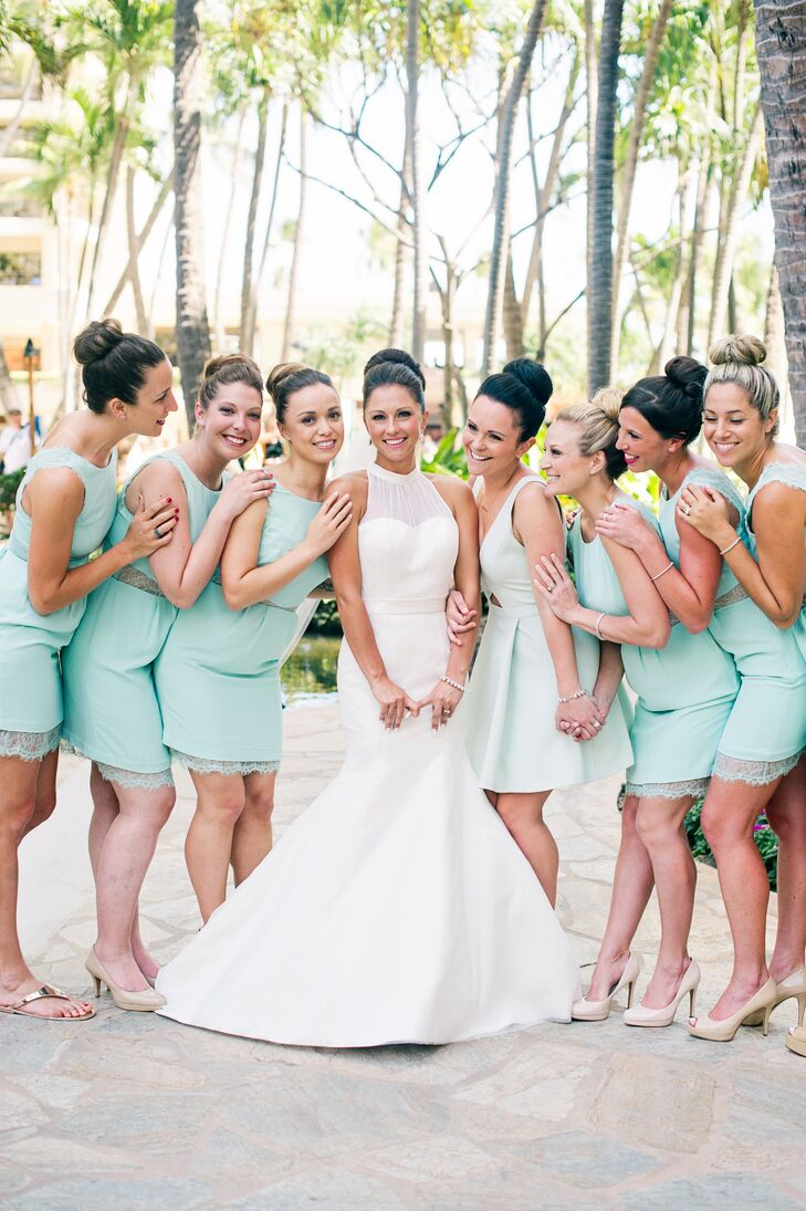 a132acd2c17 Angela stood in the middle of her bridesmaids