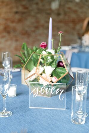 Acrylic Table Number with Terrarium Centerpiece