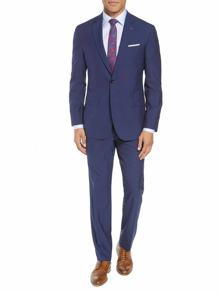 Navy semi-formal wedding guest suit
