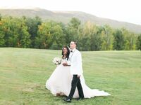 New Hampshire wedding in the mountains with ballgown dress